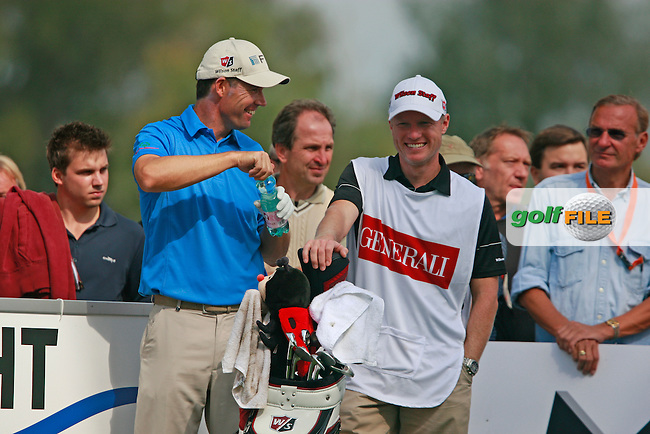 Padraig Harrington (IRL) and caddy Ronan Flood after teeing off on the 8th tee during Friday's Round 2 of the Austrian Open presented by Lyoness at the Diamond Country Club, Atzenbrugg, Austria, 23rd September 2011 (Photo Eoin Clarke/www.golffile.ie)