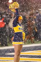 Morgantown, WV - November 19, 2016: West Virginia Mountaineers cheerleader during game between Oklahoma and WVU at  Mountaineer Field at Milan Puskar Stadium in Morgantown, WV.  (Photo by Elliott Brown/Media Images International)