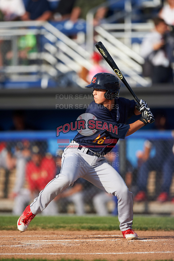 State College Spikes shortstop Tommy Edman (16) at bat during a game against the Batavia Muckdogs on June 22, 2016 at Dwyer Stadium in Batavia, New York.  State College defeated Batavia 11-1.  (Mike Janes/Four Seam Images)