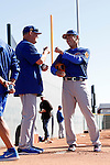 Chris Bassio, Koji Uehara (Cubs),<br /> FEBRUARY 15, 2017 - MLB : Japn's pitcher Koji Uehara (R) and pitching coach Chris Bassio of the Chicago Cubs during their spring training baseball camp in Mesa, Arizona. United States.<br /> (Photo by AFLO)
