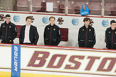 Matt Malloy (BC - Student Manager), Brian Hurley (BC - Student Manager), Chuck Van Kula (BC - Student Manager), Max Tulimieri (BC - Student Manager), Stephen Shea (BC - Student Manager) - The Boston College Eagles defeated the visiting University of New Brunswick Varsity Reds 6-4 in an exhibition game on Saturday, October 4, 2014, at Kelley Rink in Conte Forum in Chestnut Hill, Massachusetts.
