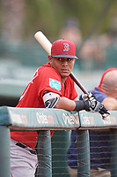 Boston Red Sox Kleiber Rodriguez (10) in the dugout during a Florida Instructional League game against the Baltimore Orioles on October 8, 2018 at the Ed Smith Stadium in Sarasota, Florida.  (Mike Janes/Four Seam Images)