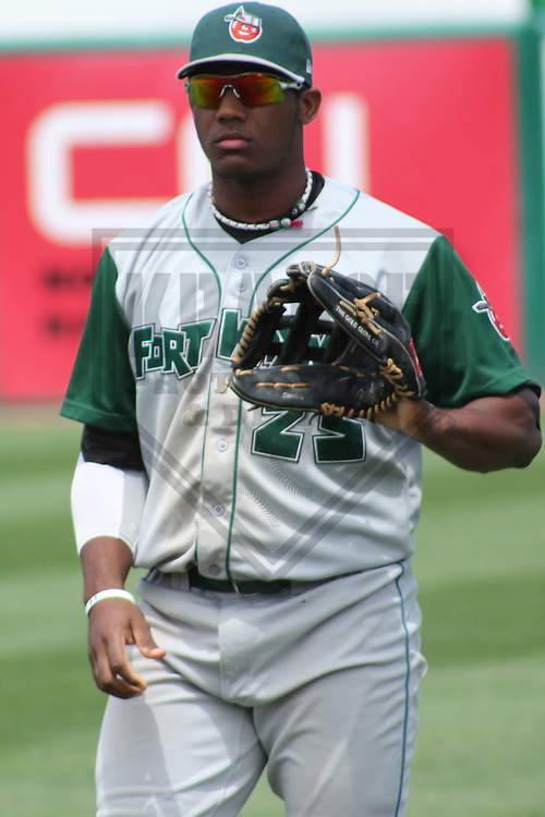 APPLETON - JUNE 2011: Rymer Liriano (25) of the Fort Wayne TinCaps, Class-A affiliate of the San Diego Padres, during a game on June 12, 2011 at Fox Cities Stadium in Appleton, Wisconsin. (Photo by Brad Krause)