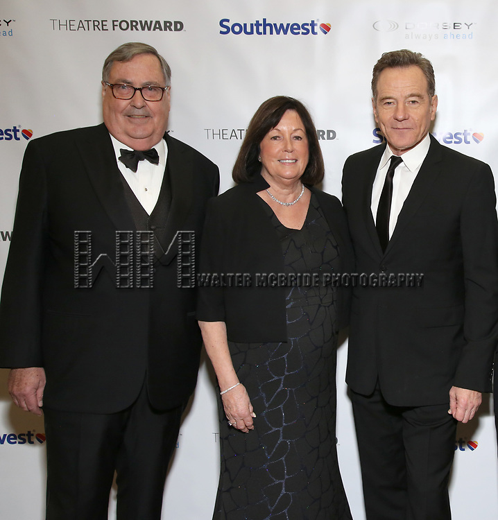 Buford Alexander, Pamela Farr and Bryan Cranston during a reception for Theatre Forward's Chairman's Awards Gala at the Pierre Hotel on April 8, 2019 in New York City.