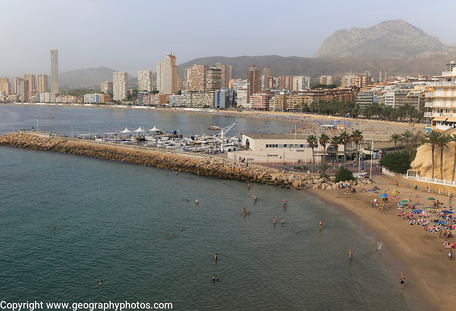 High rise apartment buildings and hotels seafront, Playa Poniente sandy beach, Benidorm, Alicante province, Spain