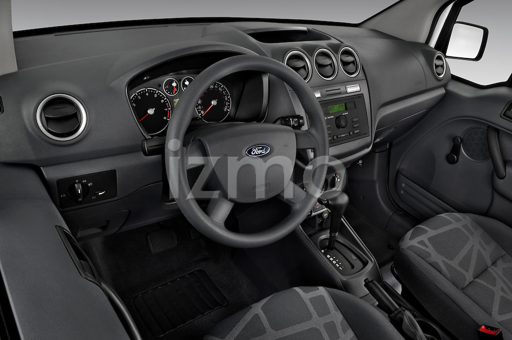 High angle dashboard view of a 2010 Ford Transit XL Wagon
