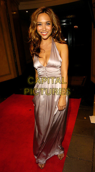 MYLEENE KLASS.TV Quick & TV Choice Awards afterparty, Dorchester Hotel, London, UK..Septembber 4th, 2006.Ref: CAN.full length silver dress plunging neckline cleavage satin halterneck.www.capitalpictures.com.sales@capitalpictures.com.©Can Nguyen/Capital Pictures