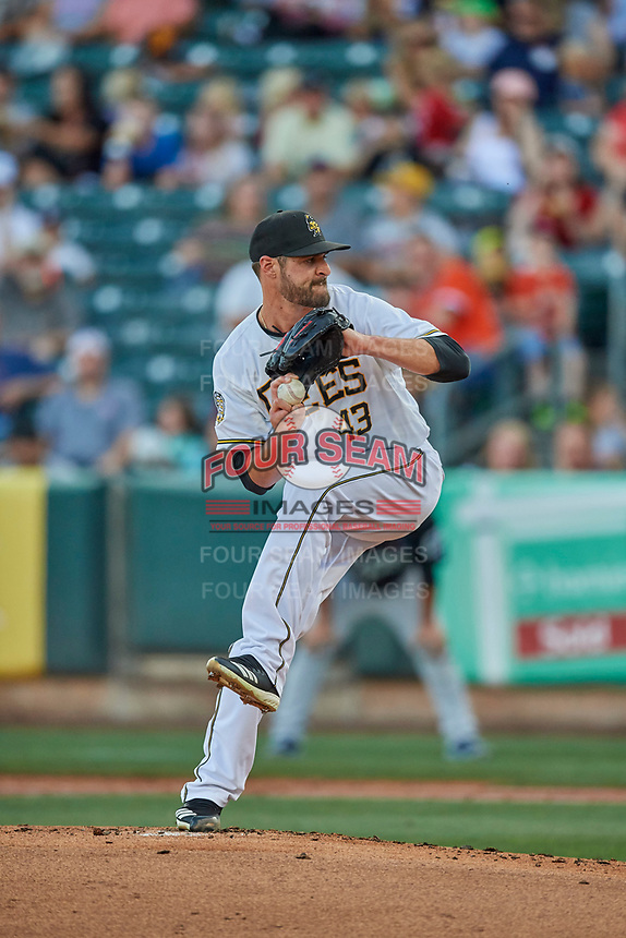 Salt Lake Bees starting pitcher Nick Tropeano (43) delivers a pitch to the plate against the El Paso Chihuahuas at Smith's Ballpark on August 17, 2019 in Salt Lake City, Utah. The Bees defeated the Chihuahuas 5-4. (Stephen Smith/Four Seam Images)