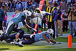 NASHVILLE, TN - OCTOBER 28:  Running back Vick Ballard #33 of the Indianaplis Colts dives backwards into the end zone for an overtime game winning touchdown against the Tennessee Titans at LP Field on October 28, 2012 in Nashville, Tennessee.  (Photo by Frederick Breedon/Getty Images) *** Local Caption *** Vick Ballard