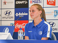 20190819 – GENT, BELGIUM : Gent's Anouk Van Der Klooster pictured during a pre-season press conference presenting the new players  , new staff and new methods for the next season 2019-2020 for the AA Gent Ladies in the Belgian top division – The Superleague -  , Monday 19 th August 2019 at the Ghelamco Stadium in GENT  , Belgium  .  PHOTO SPORTPIX.BE | DAVID CATRY