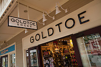 A Goldtoe socks store is pictured at the Settlers' Green Outlet Village in North Conway, New Hampshire Thursday June 13, 2013.