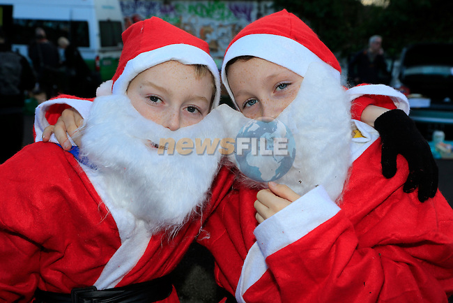 Sean McDonnnell and Jake Wall at the Drogheda Christmas Bonanza santa parade<br /> Picture: Fran Caffrey www.newsfile.ie