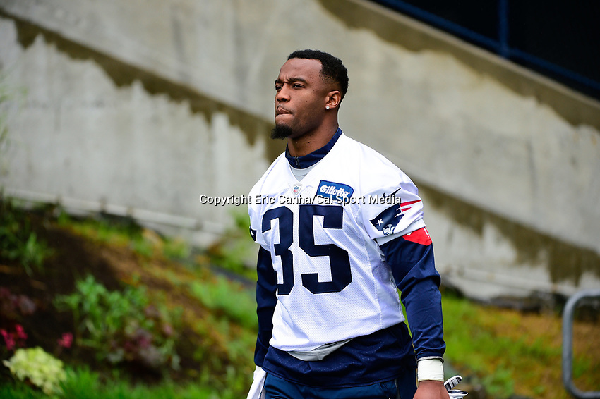 June 6, 2017: New England Patriots running back Mike Gillislee (35) walks to practice in the rain at the New England Patriots mini camp held on the practice field at Gillette Stadium, in Foxborough, Massachusetts. Eric Canha/CSM