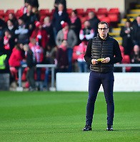 Crewe Alexandra manager David Artell during the pre-match warm-up<br /> <br /> Photographer Andrew Vaughan/CameraSport<br /> <br /> The EFL Sky Bet League Two - Crewe Alexandra v Lincoln City - Wednesday 26th December 2018 - Alexandra Stadium - Crewe<br /> <br /> World Copyright &copy; 2018 CameraSport. All rights reserved. 43 Linden Ave. Countesthorpe. Leicester. England. LE8 5PG - Tel: +44 (0) 116 277 4147 - admin@camerasport.com - www.camerasport.com