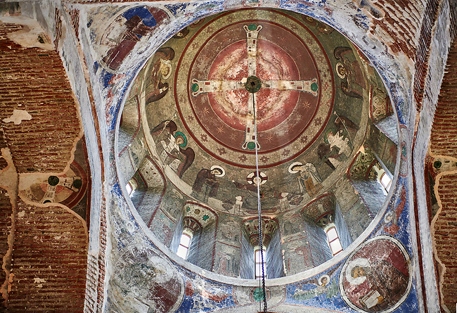 "Pictures & imagse of the interior cupola frescoes of the Timotesubani medieval Orthodox monastery Church of the Holy Dormition (Assumption), dedcated to the Virgin Mary, 1184-1213, Samtskhe-Javakheti region, Georgia (country).<br /> <br /> Built during the reigh of Queen Tamar during the ""Golden Age of Georgia"", Timotesubani Church of the Holy Dormition is one of the most important examples of medieval Georgian architecture and art. <br /> <br /> The interior frescoes of date from the 11th - 13th century so the Timotesubani church of the Dormition is a treasure trove of medieval Georgian art created during the reign of Queen Tamar. The fresco murals have been rescued and preserved by the Global Fund of Cultural Heritage."