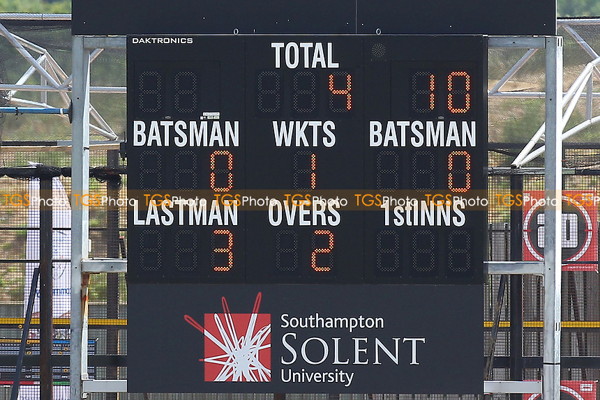 The scoreboard shows that Essex are 4 for 1 wicket , chasing 606 runs to win - Hampshire CCC vs Essex CCC - LV County Championship Division Two Cricket at the Ageas Bowl, West End, Southampton - 17/06/14 - MANDATORY CREDIT: Gavin Ellis/TGSPHOTO - Self billing applies where appropriate - 0845 094 6026 - contact@tgsphoto.co.uk - NO UNPAID USE