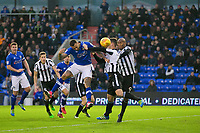 Oldham Athletic's Craig Davies sees his head is blocked by Rochdale's Harrison McGahey during the Sky Bet League 1 match between Oldham Athletic and Rochdale at Boundary Park, Oldham, England on 18 November 2017. Photo by Juel Miah/PRiME Media Images