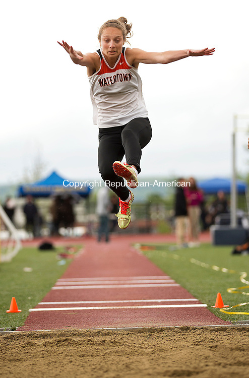Middletown, CT- 02 June 2015-060215CM04-  Watertown's Juliana Longo competes in the long jump during the Class MM Track and Field Championships at Middletown High School on Tuesday.    Christopher Massa Republican-American