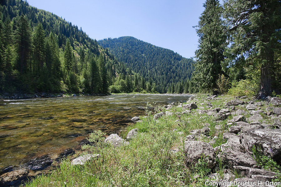 Dead Mule Flats is a little used but peaceful and scenic access to the Lochsa River, Idaho, Lewis and Clark Scenic Byway, U.S. Highway 12 flows west from headwaters near Lolo Pass