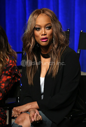 """Universal City, CA - DECEMBER 09: Tyra Banks, At Q&A For NBC's """" The New Celebrity Apprentice"""" At NBC Universal Lot, California on December 09, 2016. Credit: Faye Sadou/MediaPunch"""
