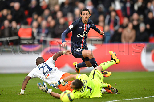 05.03.2016. Paris, France. French League 1 football. Paris St Germain versus Montpellier.  ANGEL DI MARIA (psg) gets his shot past keeper Laurent Pionnier