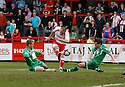 Chris Beardsley of Stevenage Borough's shot goes just over the bar during the Blue Square Premier match between Stevenage Borough and Forest Green Rovers at the Lamex Stadium, Broadhall Way, Stevenage on Saturday 10th April, 2010 ..© Kevin Coleman 2010