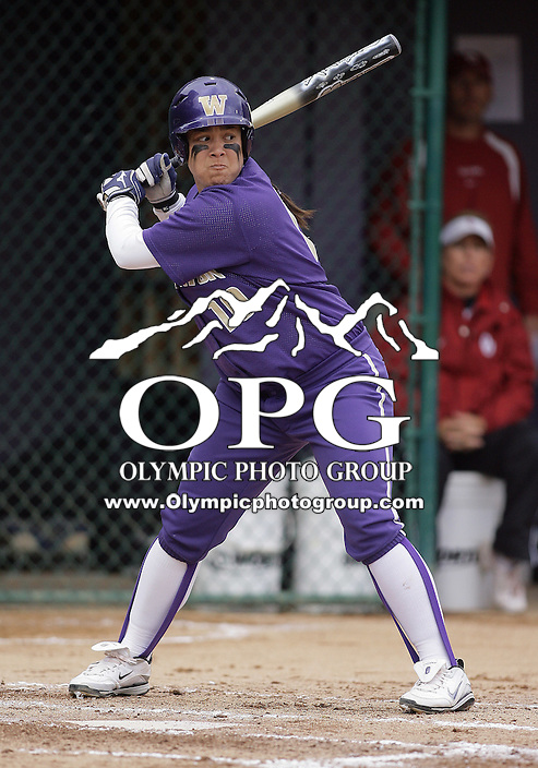 28 May 2010:  Washington Huskies first baseman Hooch Fagaly sets up to swing at an Oklahoma pitch.  Washington defeated Oklahoma 3-0 in the second game of the NCAA Super Regional at Husky Softball Stadium in Seattle, WA.
