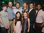 """Front row: Brie Zimmer, Charlotte Wise  Second row: Finn Faulconer, Matt Harrington, Jason O'Connell, Kate MacCluggage, Craig Wesley Devino and Kareem Lucas attends the Birthday Party Photo Call for the Wheelhouse Theater Company production of Kurt Vonnegut's """"Happy Birthday, Wanda June""""  on October 3, 2018 at Bond 45 Times Square in New York City."""
