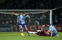 Dominic Gape of Wycombe Wanderers moves with the ball during the Sky Bet League 2 match between Wycombe Wanderers and Hartlepool United at Adams Park, High Wycombe, England on 26 November 2016. Photo by Andy Rowland / PRiME Media Images.