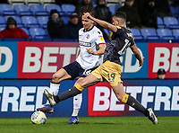Bolton Wanderers' Pawel Olkowski competing with Sheffield Wednesday's Marco Matias <br /> <br /> Photographer Andrew Kearns/CameraSport<br /> <br /> The EFL Sky Bet Championship - Bolton Wanderers v Sheffield Wednesday - Tuesday 12th March 2019 - University of Bolton Stadium - Bolton<br /> <br /> World Copyright © 2019 CameraSport. All rights reserved. 43 Linden Ave. Countesthorpe. Leicester. England. LE8 5PG - Tel: +44 (0) 116 277 4147 - admin@camerasport.com - www.camerasport.com