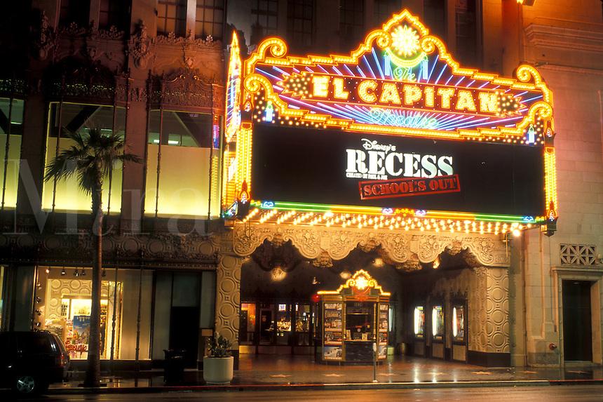 cinema, Hollywood, California, CA, Los Angeles, El Capitan Theatre illuminated at night in Hollywood.
