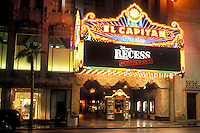 cinema, Hollywood, California, CA, Los Angeles, El Capitan Theatre illuminated at night in Hollywood.