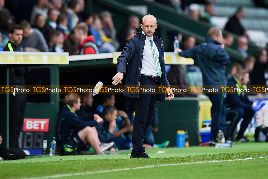 Yeovil Town Manager Darren Way throws away a water bottle  during Yeovil Town vs Wycombe Wanderers, Sky Bet EFL League 2 Football at Huish Park on 8th October 2016