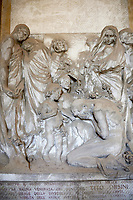 Picture of the stone sculpture bas relief of the Orsini Tomb sculpted by L  Bistolfi 1906-07. Section A, no 20, The monumental tombs of the Staglieno Monumental Cemetery, Genoa, Italy