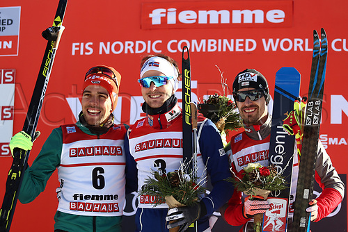 12th January 2018, Val di Fiemme, Fiemme Valley, Italy; FIS Nordic Combined World Cup, Mens Gundersen; Johannes Rydzek (GER), Joergen Graabak (NOR), Lukas Klapfer (AUT) on the podium
