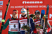 12th January 2018, Val di Fiemme, Fiemme Valley, Italy; FIS Nordic Combined World Cup, Mens Gundersen; Johannes Rydzek (GER), Joergen Graabak (NOR), Lukas Klapfer (AUT) on the podium