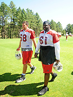 Jul 30, 2008; Flagstaff, AZ, USA; Arizona Cardinals tackle (68) Elliott Vallejo and guard (61) Elton Brown during training camp on the campus of Northern Arizona University. Mandatory Credit: Mark J. Rebilas-