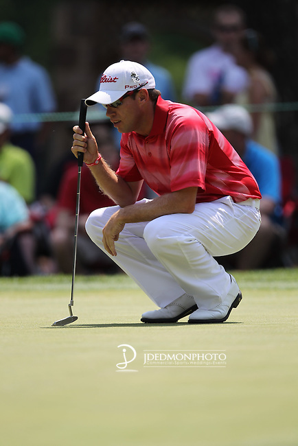 May 8,2011 - Brian Davis on number six lining up his putt.  Lucas Glover wins the tournament in sudden death over Jonathan Byrd at Quail Hollow Country Club,Charlotte,NC.