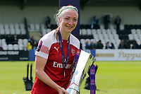 Louise Quinn of Arsenal Women with the FA Women's Super League Trophy  during Arsenal Women vs Manchester City Women, FA Women's Super League Football at Meadow Park on 11th May 2019
