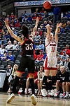 SIOUX FALLS, SD - MARCH 7: Monica Arens #11 of the South Dakota Coyotes shoots a three pointer against the Omaha Mavericks at the 2020 Summit League Basketball Championship in Sioux Falls, SD. (Photo by Dave Eggen/Inertia)
