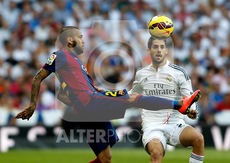"""Spanish  League""- match Real Madrid Vs FC Barcelona- season 2014-15 - Santiago Bernabeu Stadium - Isco (Real Madrid) and Dani Alves(FC Barcelona) in action during the Spanish League match(Photo: Guillermo Martinez/Bouza Press/ALTERPHOTOS)"