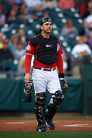 Buffalo Bisons catcher George Kottaras (17) during a game against the Pawtucket Red Sox  on August 28, 2015 at Coca-Cola Field in Buffalo, New York.  Pawtucket defeated Buffalo 7-6.  (Mike Janes/Four Seam Images)