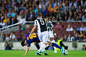 12th September 2017, Camp Nou, Barcelona, Spain; UEFA Champions League Group stage, FC Barcelona versus Juventus; Leo Messi of FC Barcelona is fouled by Pjanic of Juventus