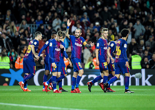 29th November 2017, Camp Nou, Barcelona, Spain; Copa Del Rey, Barcelona versus Real Murcia; FC Barcelona players celebrating their goal