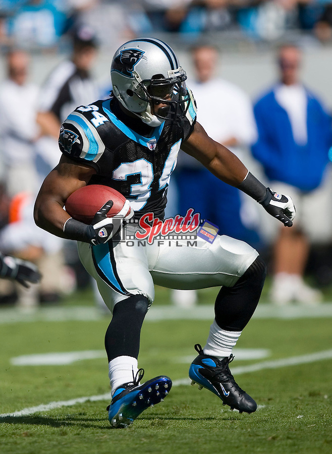 Carolina Panther's DeAngelo Williams (34) returns a kick versus the Indianapolis Colts at Bank of America Stadium in Charlotte, NC, Sunday, October 28, 2007.