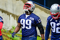 June 6, 2017: New England Patriots defensive tackle Vincent Valentine (99) walks to practice in the rain at the New England Patriots mini camp held on the practice field at Gillette Stadium, in Foxborough, Massachusetts. Eric Canha/CSM