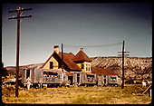 RGS Geese #7, #4 &amp; #3 beside Ridgway depot with westbound tourist excursion runs before the end of the RGS.  RMRRC also ran a trip on this weekend but with #74 and its consist.<br /> RGS  Ridgway, CO  Taken by Pfeiffer, Jack A. - 9/1/1951