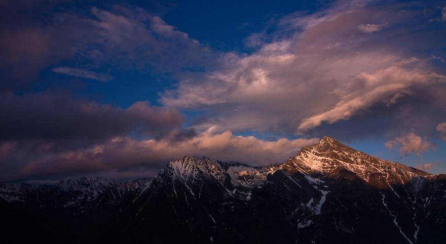 Mount Krivàn (2495 m asl), national symbol of Slovakia. The massif with Mount Hruba Kopa (2238 m asl) at sunset. High Tatras, Slovakia. June 2009. Mission: Ticha