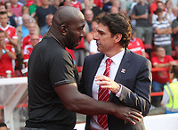 Nottingham Forest's Manager Mark Aitor Karanka greets West Bromwich Albion's Darren Moore <br /> <br /> Photographer Mick Walker/CameraSport<br /> <br /> The EFL Sky Bet Championship - Nottingham Forest v West Bromwich Albion - Tuesday August 7th 2018 - The City Ground - Nottingham<br /> <br /> World Copyright &copy; 2018 CameraSport. All rights reserved. 43 Linden Ave. Countesthorpe. Leicester. England. LE8 5PG - Tel: +44 (0) 116 277 4147 - admin@camerasport.com - www.camerasport.com