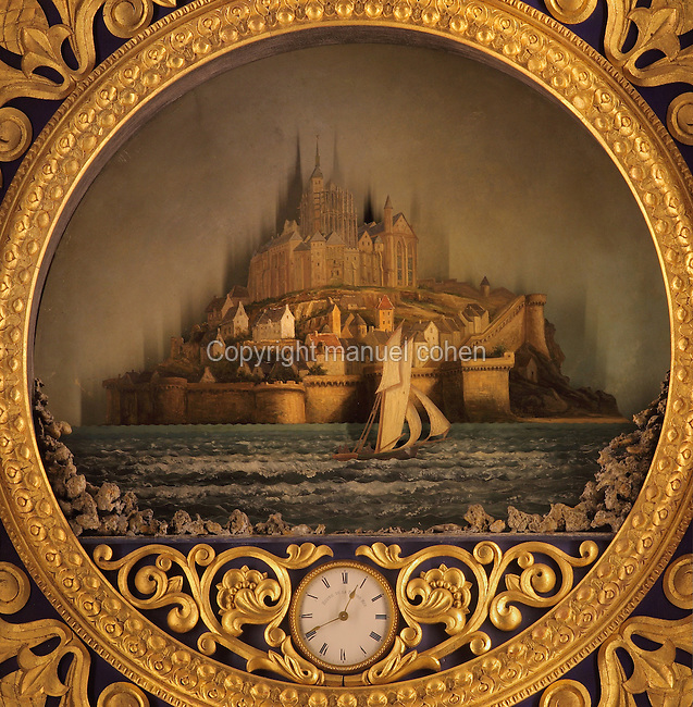 Painting of the tides at Mont Saint Michel, and clock showing the time on the open sea, on the side of the Astronomical Clock, built 1865-68 by clockmaker Auguste Verite, based on a model of the Strasbourg clock, in the Cathedrale Saint-Pierre de Beauvais or Cathedral of St Peter of Beauvais, an incomplete Gothic Roman Catholic cathedral consecrated in 1272, Beauvais, Oise, Picardy, France. The 52 dials display the times of the rising and setting sun and moon, the position of the planets, the current time in 18 cities around the world, and the tidal times. The clock also displays the epact (age of the moon in days on January 1) and the golden number. The cathedral itself consists only of a transept built in the 16th century and choir, with apse and 7 polygonal apsidal chapels from the 13th century. It was listed as a historic monument in 1840. Picture by Manuel Cohen